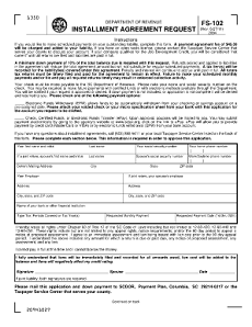 Department of Revenue Installment Agreement